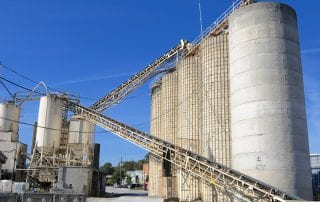 An industrial cement processing facility